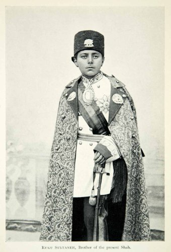 Iranian Costume (1903 Print Ruku Sultaneh Brother Shah Child Uniform Cloak Costume Iranian Persia - Original Halftone Print)