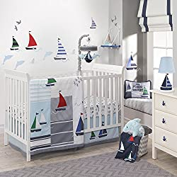 Lambs & Ivy Regatta Nautical 3 Piece Crib Baby Boy Bedding Set, Blue/Gray