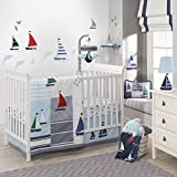 Lambs & Ivy Regatta Nautical 3 Piece Crib Bedding Set, Blue/Gray
