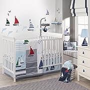 Lambs & Ivy Regatta Nautical 3 Piece Crib Bedding Set, Blue/Gray