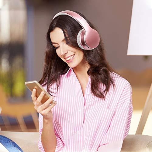 Bluetooth Kopfhörer, Ifecco Bluetooth Headset Wirless Ohrpolster Kopfhörer, Stereo-Headset Sport Hörer Kompatibel mit Allen Gängigen Smartphones/Tablets/Notebooks (golden Rose)