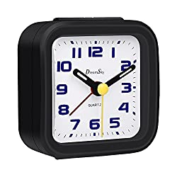 DreamSky Analog Alarm Clock With Snooze And Nightlight , Battery Operated , Non-Ticking & Silent Bedside Digital Alarm Clocks For Bedroom , Small And Lightweight , Ascending Sounds, Simple To Set