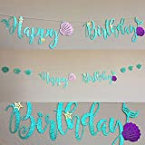 Blue Mermaid Happy Birthday Bunting Banner Decoration for Birthday Party Supplies