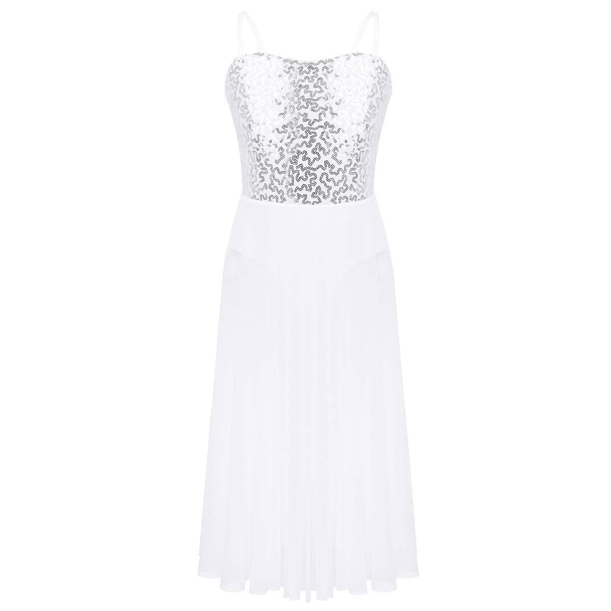 dPois Kids Girls Sequined Lyrical Modern Dance Dress Costume Outfit Double Criss Cross Strap Stunning Tank Leotard Tulle Maxi Skirt