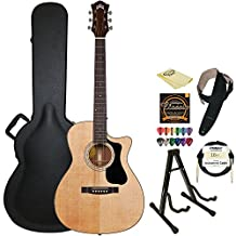 Guild OM-140CE NAT Natural Orchestra-Style Acoustic Electric Guitar with Guild Hard Case, ChromaCast Strings, Stand, Picks, Cable, Strap and Polish Cloth