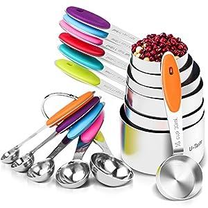 U-Taste 12 Piece Measuring Cups and Spoons Set in 18/8 Stainless Steel : 7 Measuring Cups & 5 Measuring Spoons