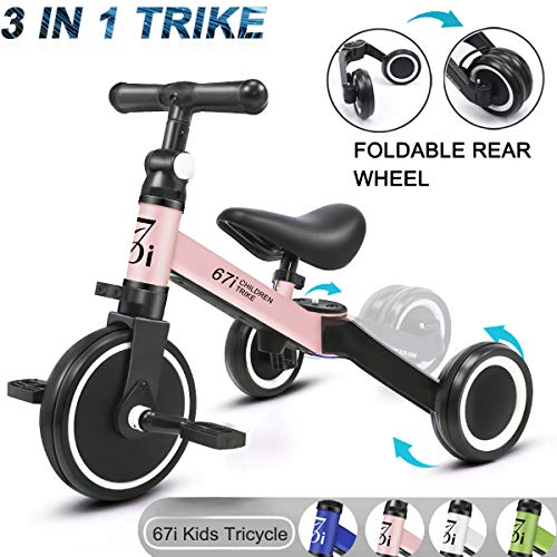 67i Kids Tricycles 3 in 1 Toddler Tricycle Kids Trike Tricycles for 2 Year Old Tricycle Bike 3 Wheel Convert 2 Wheel with Removable Pedal and Adjustable Seat for Boys Girls Kids Ages 1-5 Years (Pink)