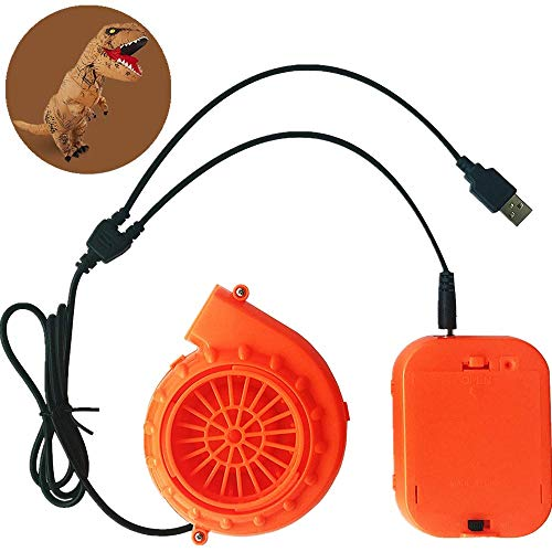 WJA Mini Blower Fan for Dinosaur Costume or Doll Mascot Head or Other Inflatable Game Clothing Suits, Orange -
