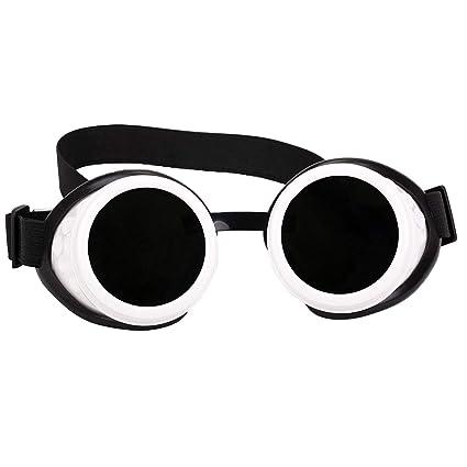 e6fa18c84b Amazon.com  DODOING White Chrome Goggles Black Lense Steampunk Goggle  Glasses Welding Cyber Punk Gothic Cosplay  Home Improvement