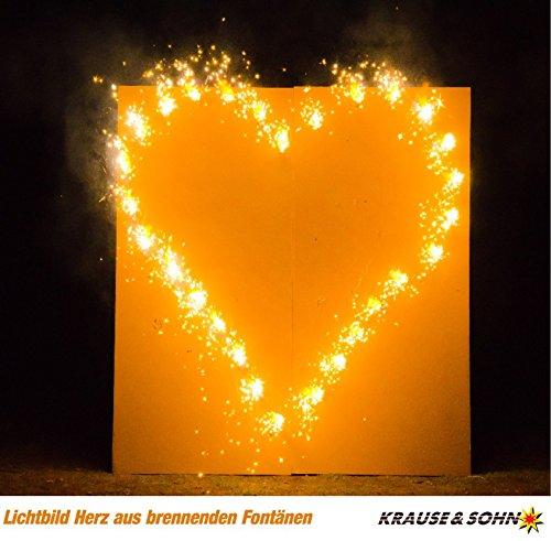 Lichterbild: Brennendes Herz zur Hochzeit Krause & Sohn