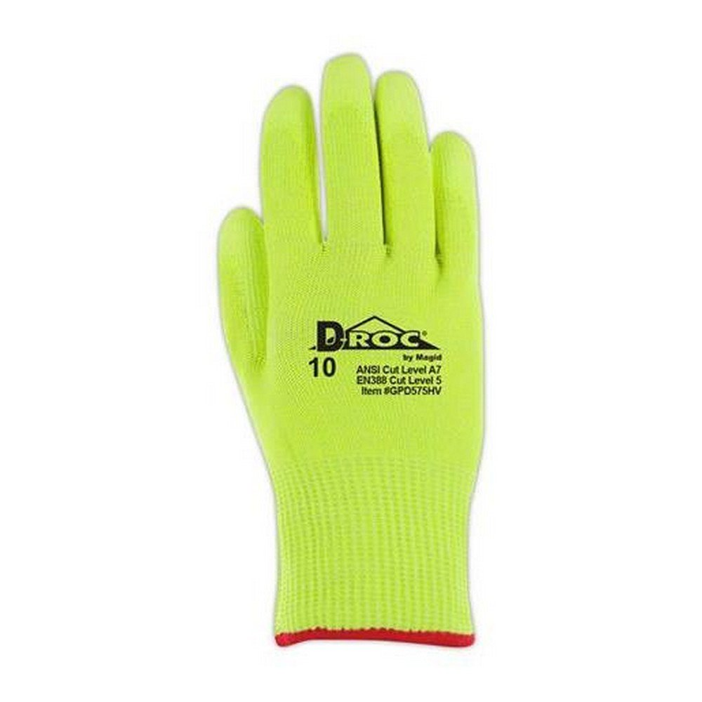 Glove & Safety GPD575HV-10 D-ROC GPD575HV Lightweight Hi-Viz Polyurethane Palm Coated Work Gloves