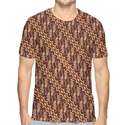 3D Printed T Shirts,Batik Parang Barong Diagonal Pattern Indonesian Culture and Art Design