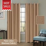 Cheap Classical Thermal Insulated Faux Linen Textured Room Darkening Brown Beige Curtain Heavy Weight Textured Tiny Plaid Linen Grommet Curtains/Drapery for Living Room Bedroom, 52×84-inch, Two Panels
