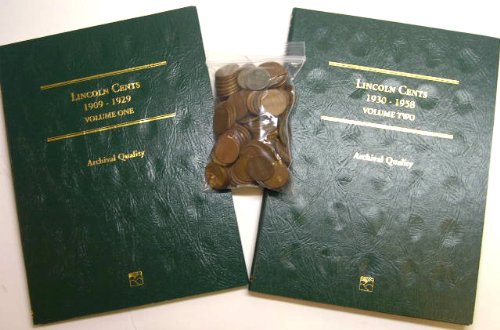 Wheat Penny Collectors (Lincoln Cent Collectors Starter Kit - 1 Pound wheat cents pennies and albums)