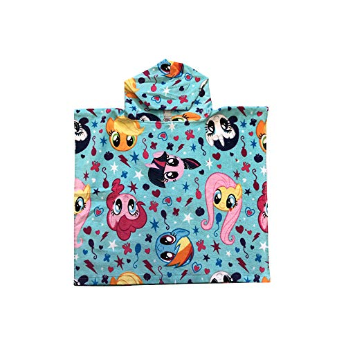 My Little Pony Twilight Sparkle, Applejack, Pinkie Pie, Rainbow Dash, Fluttershy & Rarity Blue Hooded Poncho Towel]()