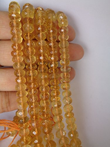 8mm Micro Faceted AAA Genuine Citrine Rondelle Beads Strand, November Birthstone Beads, 10 Inches Long Strand