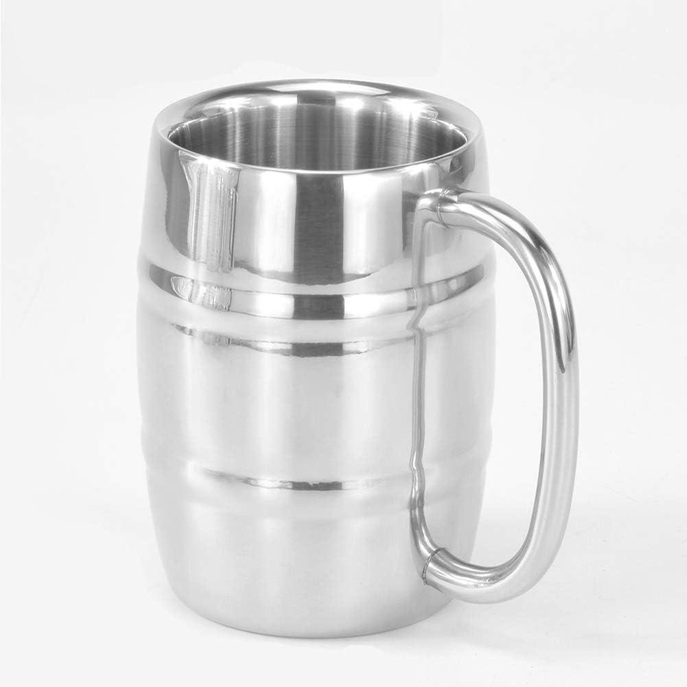 Happymore Aislado Cerveza Taza, Taza de café Taza de Cerveza de Doble Pared de Acero Inoxidable con Aislamiento Vaso de Vino Vasos para Beber con Mango para café Té Bebida de Cerveza(1/2PC)