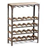 Gallatin Industrial Metal Rustic Wood Narrow Console Wine Rack