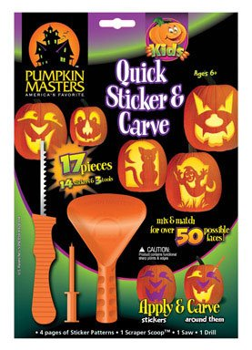 Kids Quick Sticker and Carve Pumpkin Decorating Kit (17 (Halloween Pumpkin Carving With Drill)