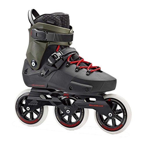 Rollerblade Twister Edge 110 3WD Unisex Adult Fitness Inline Skate, Black and Army Green, Premium Inline Skates, Size 10