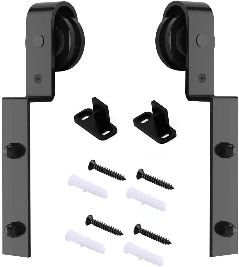 skysen Heavy Duty Sliding Barn Door Hardware Single Track Bypass Double Door Kits Roller Set Bypass J Hanger Set