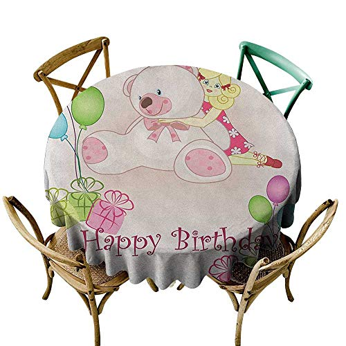 Wendell Joshua Banquet Tablecloth 36 inch Kids Birthday,Baby Girl Birthday with Teddy Bears Toys Balloons Surprise Boxes Dolls Image, Pale Pink 100% Polyester Spillproof Tablecloths from Wendell Joshua