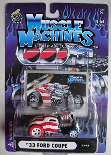 MUSCLE MACHINES 1:64 SCALE RED/WHITE/BLUE WITH RED/BLUE CHASE TIRES '33 FORD COUPE #03/42