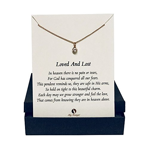 Loved and Lost Sympathy Gift Rose Gold Jewelry Necklace, No Tears In Heaven, 17.5 inches