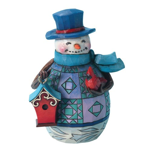 Jim Shore Heartwood Creek Pint-Sized Snowman with Birdhouse Stone Resin Figurine, ()