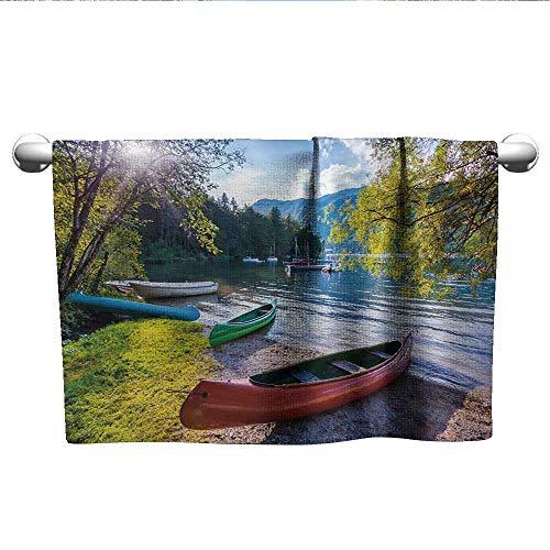 - alisoso Landscape,Bath Sheet Bohinj Lake with Boats Canoes Triglav National Park Julian Alps Slovenia Print Hand Towel for Bathroom Multicolor W 10