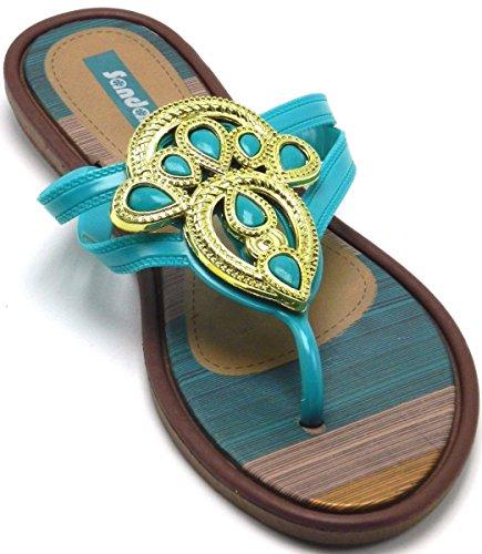 Femmes Été Bhoemia String Fleur Douce Perles Orteil Post Flip Flop Chaussures Sandales Plat Fuchsia