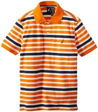 Nautica Big Boys' Color Stripe Polo, Orange, Small