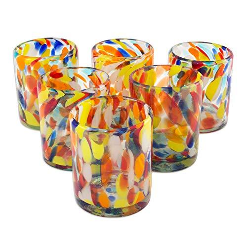"""NOVICA 61550""""Liquid Confetti Tumbler, Set of 6, 3.9"""" H x 3.3"""" Diam, Bright from NOVICA"""