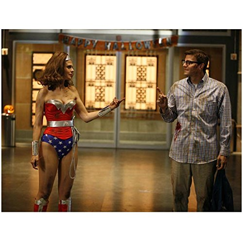 Bones Emily Deschanel Wearing Wonder Woman Costume and David Boreanaz Wearing Glasses and Stained Shirt Halloween 8 x 10 Photo -