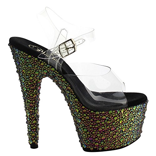 Pleaser BEJEWELED-708MS Clr/Green Multi RS Size UK 5 EU 38