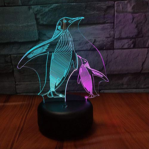 Penguin LED 3D Illusion Beside Lamp USB Optical Night Light 7 Color Christmas Present Birthday Gift for Boy Girl Kids Men Gentlemen Father's Day Nursery Room Decoration Bedroom Decor (Penguin ()