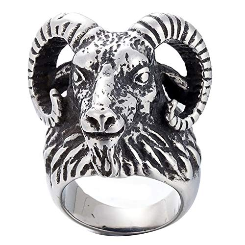 JINSHIYINYU Jewelry 316L Stainless Steel Vintage Black Big Sheep Goat Head Skull Gothic Ring (Ring Ram Head)
