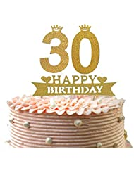 Alemon 30th Happy Birthday Cake Topper, Dirty Thirty Glitter Gold,Size 4.8 Length