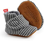 URMAGIC Baby Boys Girls Striped Boots Cotton Soft Soled Anti-Slip Shoes Toddler First Walking Shoes Crib Shoes