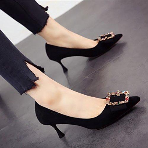 FLYRCX Europäische Mode Persönlichkeit Schuh Dame mit feinen Ferse flach High Heel Schuhe