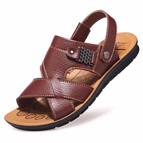 Männer Sandalen Männer Sommer Echtleder Freizeit Schuh Atmungsaktiv Strand Schuh Männer Jugend Leder Rutschfest Sommer Leder Sandalen ,braun ,US=10,UK=9.5,EU=44,CN=46