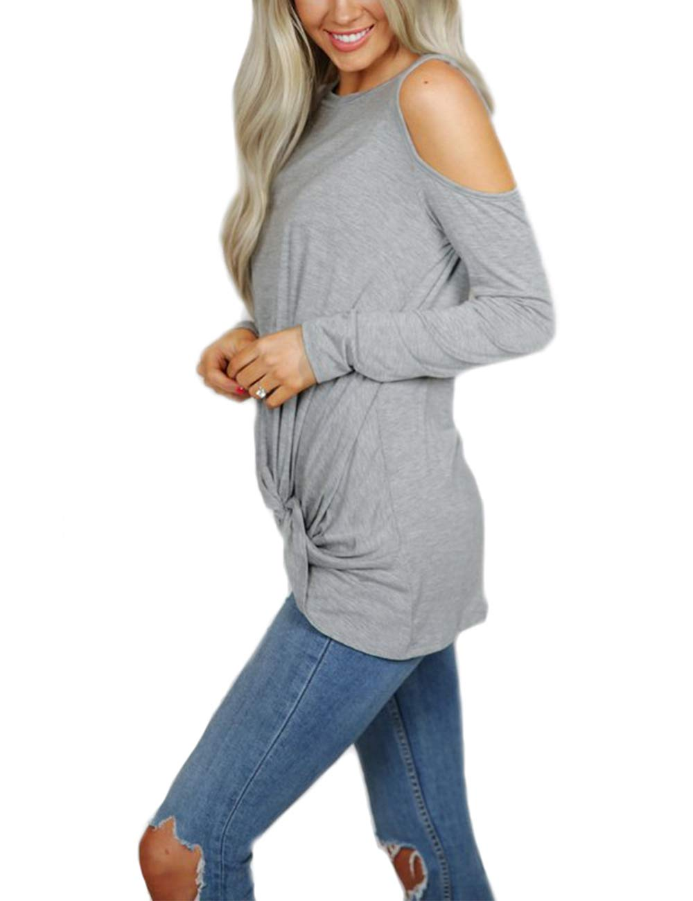 Eanklosco Women's Long Sleeve Cold Shoulder Cut Out T Shirts Casual Knot Tunic Tops (Grey, L)