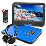 WONNIE 10.1 inch Portable DVD Player CD Player with Backpack & Earphone, Swivel Screen Remote Control 5 Hours Rechargeable Battery AC Adapter Car Charger, Mini DVD Player, Support USB/SD Slot (Blue)