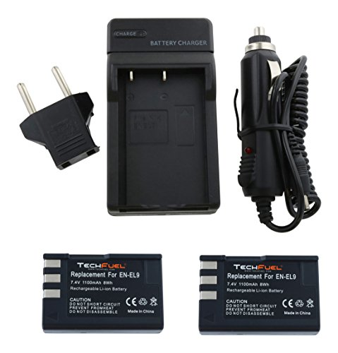 TechFuel ENEL9 Power Bundle - Two EN-EL9 Batteries + MH23 Replacement Compact Charger for Nikon D40, D40x, D60, D3000, D5000 Cameras (D60 Memory)
