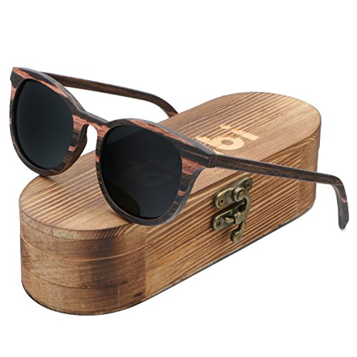Ablibi Men's Wood Bamboo Sunglasses Women Vintage Luxury Brand Designer Polarized Sun Glasses (ebony, - Handmade Sunglasses Brand