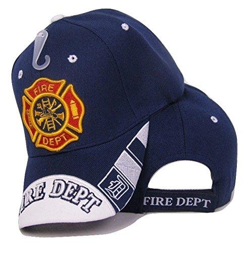 (AES Fire Department Dept. Emblem Crest Navy Blue White Bill Embroidered Cap Hat)