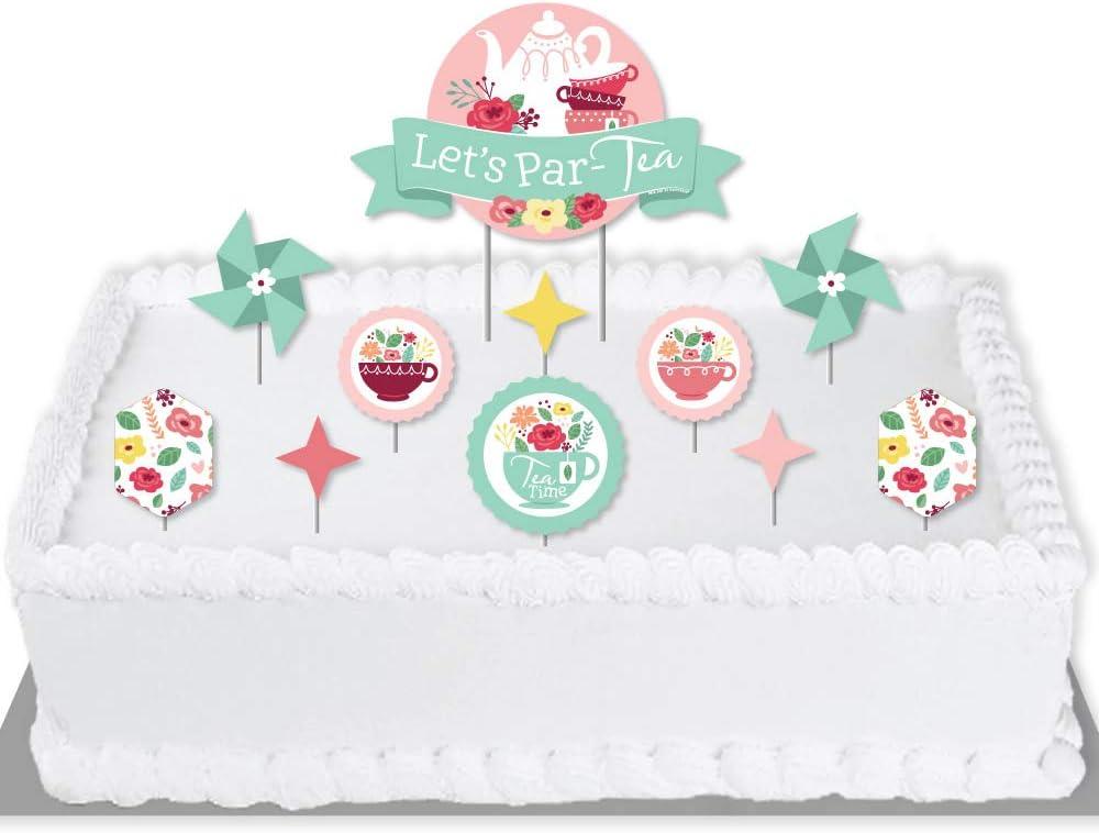 Big Dot of Happiness Floral Let's Par-Tea - Garden Tea Party Cake Decorating Kit - Let's Par-Tea Cake Topper Set - 11 Pieces