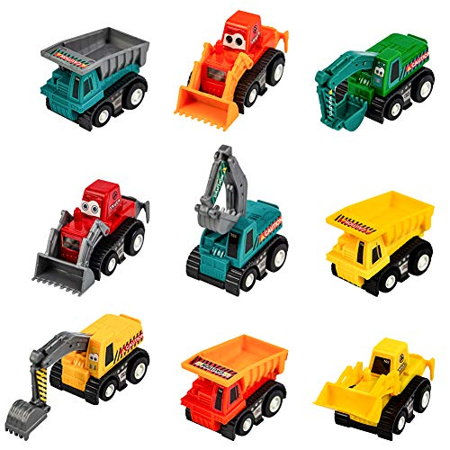(Mini Toy Cars Pull Back Vehicle Construction Excavator Dump Truck Play Set for Baby Toddlers Kids Boys Party Favors Birthday Cake Toppers Decorations Pinata Fillers Easter Egg Stuffers 9 PCS)