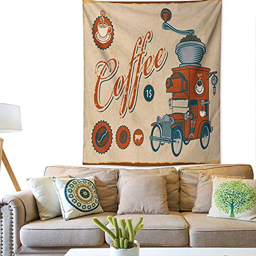 bybyhome RetroWall tapestryArtsy Commercial Design of Vintage Truck with Coffee Grinder Old FashionedColorful Tapestry 57W x 74L INCHCream Orange Grey