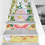 Stair Stickers Wall Stickers,6 PCS Self-adhesive,Pearls,Cute Princess Pearl in Clam with Crown Tiara Reef Cartoon Print Baby Girl Nursery Print,Multi,Stair Riser Decal for Living Room, Hall, Kids Room